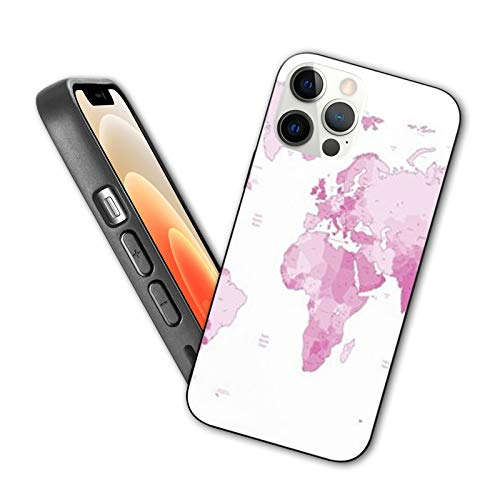 Compatible with iphone 12 Pro Max case Detailed vector World map of pink colors Names town marks and national borders Protective Shockproof Cover with Soft TPU Bumper and Hard PC Back(6.7 inch)