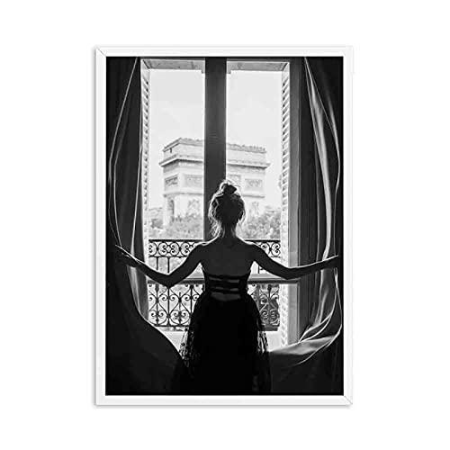 YYAYA.DS Lona Pared Arte Impresiones en Lienzo nórdico de Chica con Ventana Sexy en Blanco y Negro Carteles de Pintura de Mujer Hermosa imágenes artísticas de Pared decoración del hogar 60x90cm