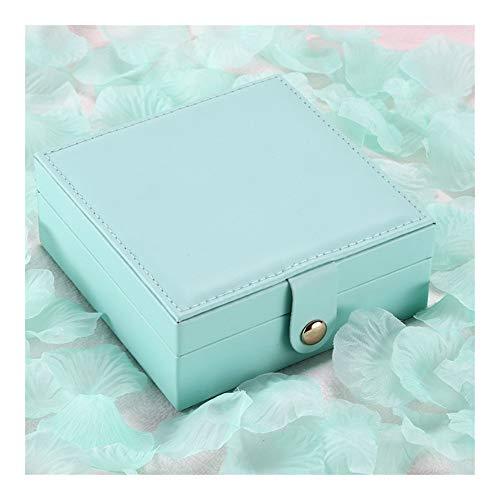 YNuo Bijoux Portable Boîte de Rangement en Cuir PU Boucle d'oreille Bague Collier Zipper Bijoux Boîte de Rangement Mesdames cosmétiques Beauté Boîte de Rangement (Color : Blue)