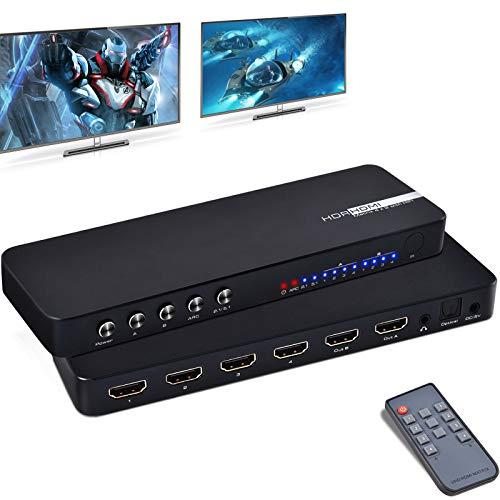 4k HDMI Matrix Ippinkan 4x2 Switch Splitter Extender HDMI Matrix Soporte 4k@60hz 3D Full HD Video Soporte ARC SPDIF Pip Matrix Audio Extractor HDMI con función de Memoria y Control Remoto