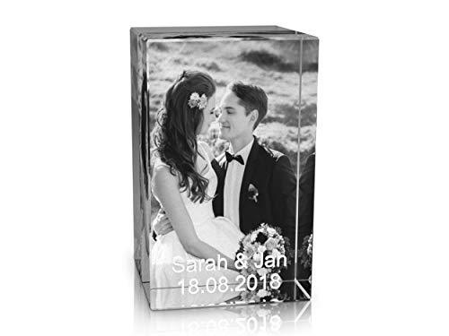 VIP-LASER 2D Gravur Glas Kristall Quader im Hochformat XL mit dem Foto Deiner Hochzeit/Hochzeitsfoto. Dein Wunschfoto für die Ewigkeit Mitten in Glas! Groesse XL = 80x50x50mm
