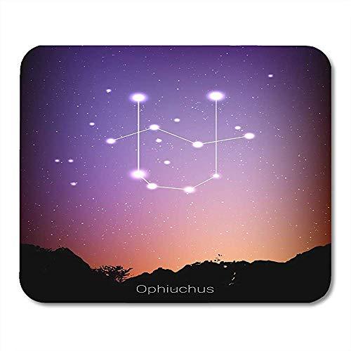 AllenPrint Las Constelaciones del zodíaco de Ofiuco Firman con la Silueta del Paisaje Forestal en el Hermoso Cielo Estrellado con Galaxy Premium Fashion Laptop Gaming Pad 30x25CM