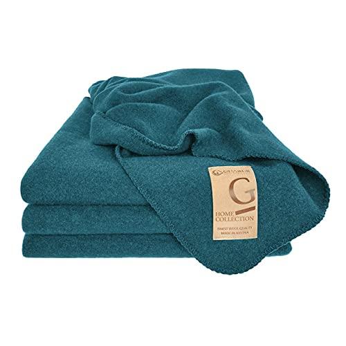 GIESSWEIN Wolldecke Marie - Waschbare Decke aus Lammwolle, Warme Kuscheldecke, Atmungsaktive Tagesdecke aus Schurwolle, 150 x 190 cm