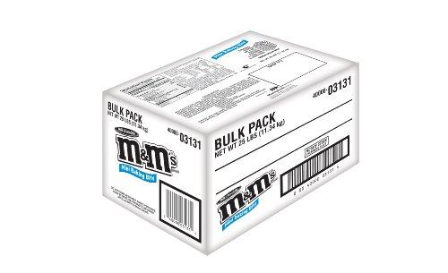 M&M'S Milk Chocolate MINIS Size Baking Bits 25-Pound Bulk Package Box