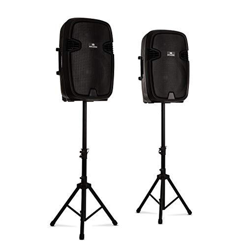 """MALONE Combo 2 - PA-Lautsprecher Set, 2-Wege-Lautsprecher, Bluetooth, 15\"""" (38 cm), aktiv und passiv, max. 800 Watt, inkl. 2 x Boxenständer, schwarz"""