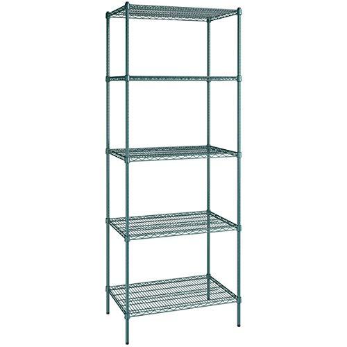 24″ x 36″ NSF Green Epoxy 5 Shelf Kit with 96″ Posts Shelving Storage Metal Shelves Wire Shelving Organization and Storage Shelf Organizer. Perfect Bathroom Book Shelves Food Storage Microwave Cart