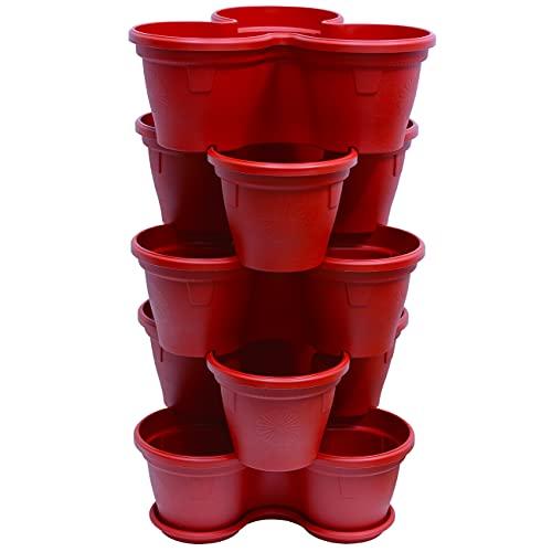 ENGELLAND 5X Blumentopf Säulentopf Pflanzturm Hochbeet Pflanztopf-Kübel mit Untersetzer stapelbar widerstandsfähig Kunststoff Rot