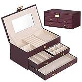 ジュエリーボックス アクセサリーケース ジュエリー収納 大容量 鏡 付き小物入れ トレイ付き 宝石箱 PUレザー (ブラウン)