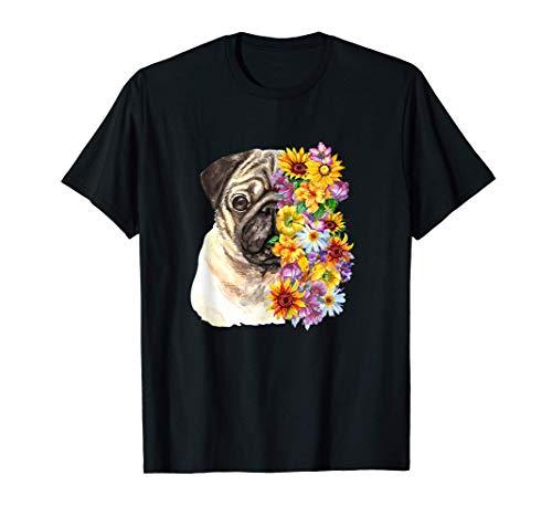 犬 パグ モップホルダー プレゼント 花 動物好き 犬好きの方 ギフトのアイデア 花が好きな人 Tシャツ