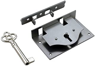 Small Half Mortise Steel Lock for Chest or Box Lid w/Skeleton Key | S-10