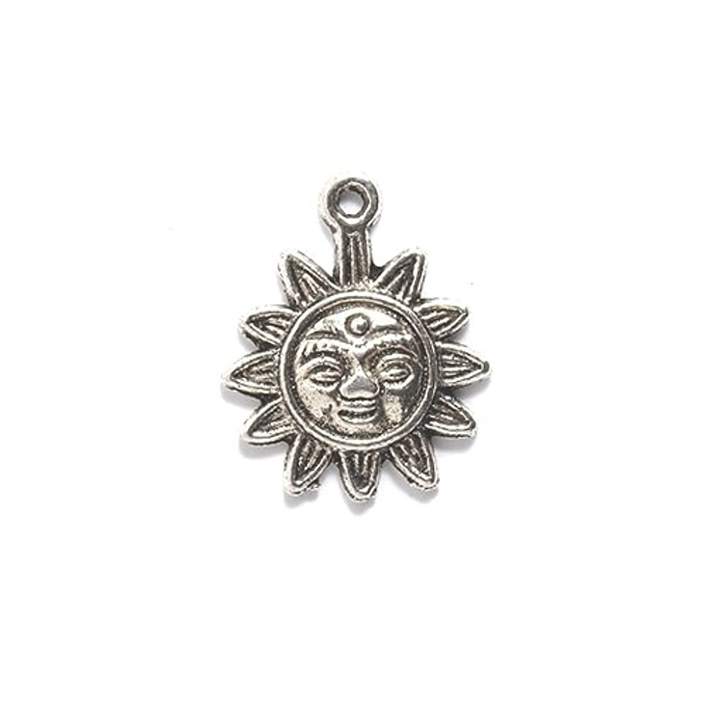 Shipwreck Beads Zinc Alloy Sun Face Pendant, 17 by 21mm, Silver, 30-Pack