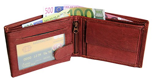 Herren Vollleder Geldbörse Geldbeutel Kombibörse Börse Doppelnaht Querformat braun