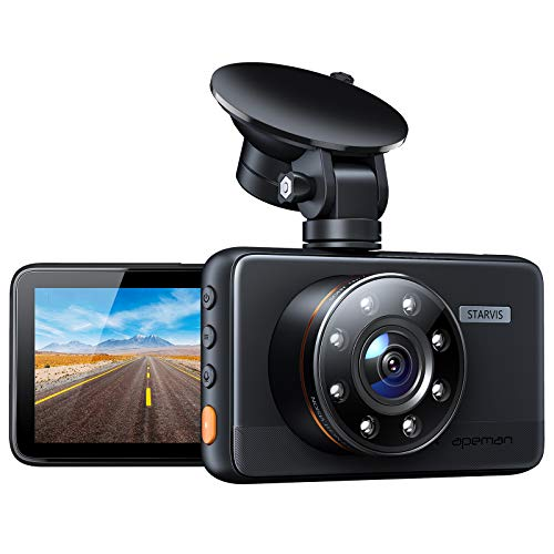 APEMAN Dash Cam with IR Night Vision, FHD 1080P Dash Camera for Cars, Support GPS, 3 inch IPS Screen, Easy Use, Loop Recording, G-Sensor, 170°Wide Angle, Parking Monitor, WDR