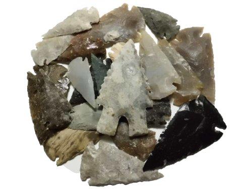 20 mittelgroße flint knapping Pfeilspitzen 3,5 bis 6,5cm Steinzeit Nachbau