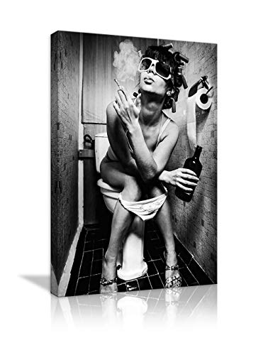 Black and White Sexy Woman Beauty Canvas Print Modern Bar Girl Smoking and Drinking in Restroom Painting Picture Poster Decor for Bedroom Framed Ready to Hang