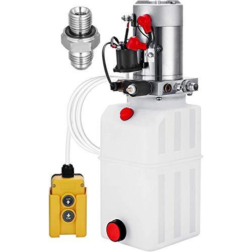 VEVOR 8L Hydraulikpumpe Nenndrehzahl, 2850R / MIN max. Hydraulikaggregat Einfachwirkend, 3200 PSI Kipperpumpe, mit Tank aus Kunststoff 4,5M Kabelfernbedienung