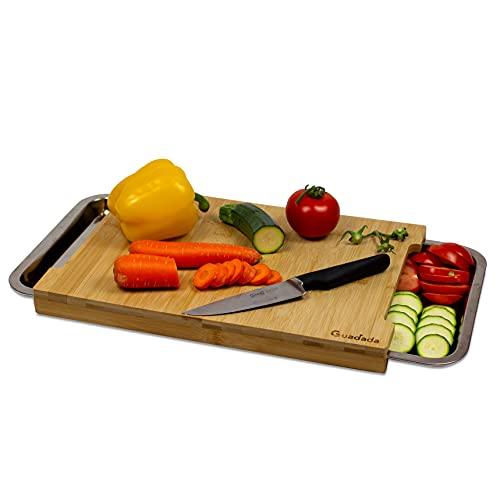 Guadada Küche Schneidebrett aus Bambus mit 2 Auffangschalen aus Edelstahl | Küchen Brett Küchenhelfer: Behälter für Gemüse Aufbewahrung und Reste | Rutschfestes Holz...