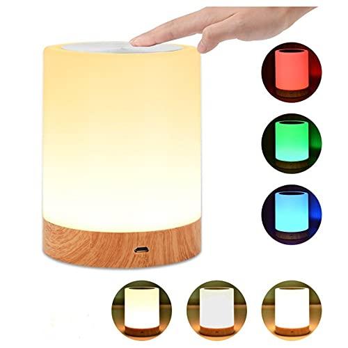DEWUFAFA Lámpara de mesilla de mesa con sensor de lámpara de mesa, lámpara táctil blanca cálida regulable y lámpara de mesa de noche de cambio de color RGB, parche de aleación cilíndrica de 5W adecuad