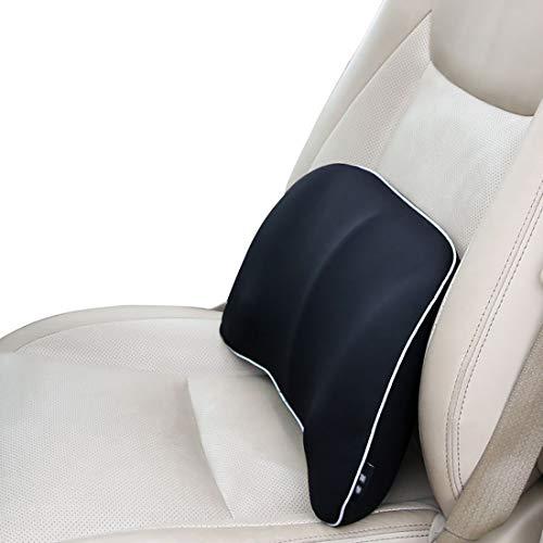 XIANGSHAN Tirantes for cojines del asiento, cojines ergonómicos de soporte lumbar for el asiento del automóvil, deformación duradera, algodón transpirable con memoria. (Color : Black)
