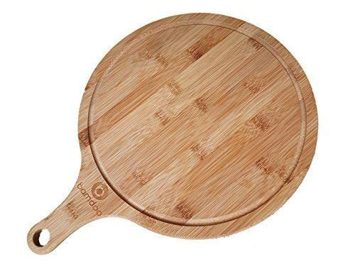 Pizza board made of bamboo - round diameter 30 cm - elegant pizza plate / flame cake board / tray with handle