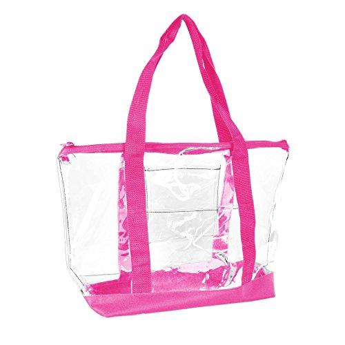 DALIX Clear Shopping Bag Security Work Tote Shoulder Bag Womens Handbag (Hot Pink)