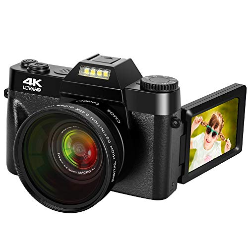 4K Digital Camera 48MP Camera Vlogging Camera for YouTube 30FPS Video Camera 16X Digital Zoom Camera with Flip Screen Camera (Fixed Focus&Without Micro sd Card)