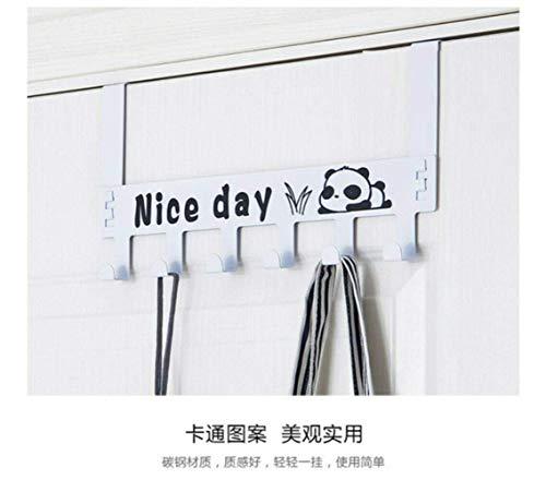 Handig Rek van de handdoek haak boven de deur Hook 6 Organisator handdoek Storage Holder Rack Hanger doek jas Carbon Steel, Black (Color : White)
