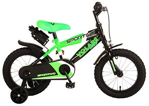 Kinderfahrrad Jungen Volare Sportivo 14 Zoll mit Vorradbremse am Lenker und Rücktrittbremse, Stützräder Grün 95% Zusammengebaut