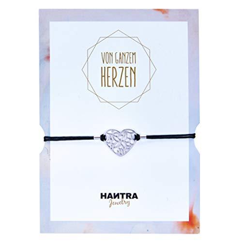 HANTRA Herz Armband Damen mit echtem 925er Sterling (Silber) - handgefertigtes Geburtstagsgeschenk für Freunde und Familie - Dankeschön Geschenke geliefert in edlem Geschenkumschlag