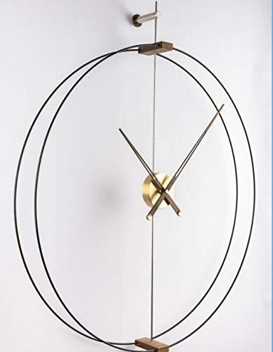 Fnho Reloj de Pared Moderno silenciosa No-Ticking,Reloj de Pared Decorar La Oficina Mute DIY,Mesa de Reloj Breve de Lujo Ligero, Reloj de Pared para decoración de Sala de Estar-Latón unipolar_80cm