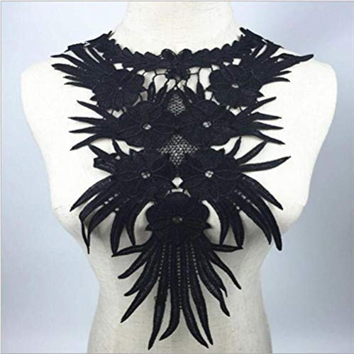 1 st zwart polyester 3d bloem kant stof applique motief met pailletten blouse naaien versieringen diy hals kraag kostuum decoratie, BW039B