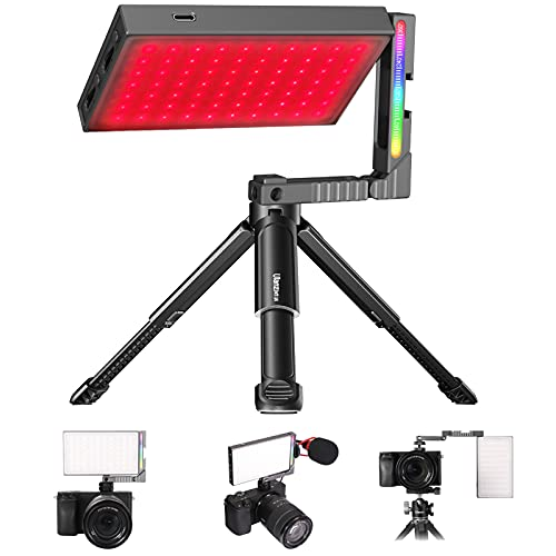 RGB LED Videoleuchte mit Mehrwinkelverstellbarer Magic Arm und Stativ, G/M rot und grün einstellbar Videolicht 2700K-8500K, LED Kamera Licht CRI 97+, Luftfahrt Aluminiumlegierung Mini Fotolampe