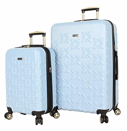 BCBGeneration BCBG Butterfly Designer Luggage Collection - Expandable 2 Piece Hardside Lightweight Spinner Suitcase Set - Travel Set includes 20-Inch Carry On and 28-Inch Checked Bag (Blue)