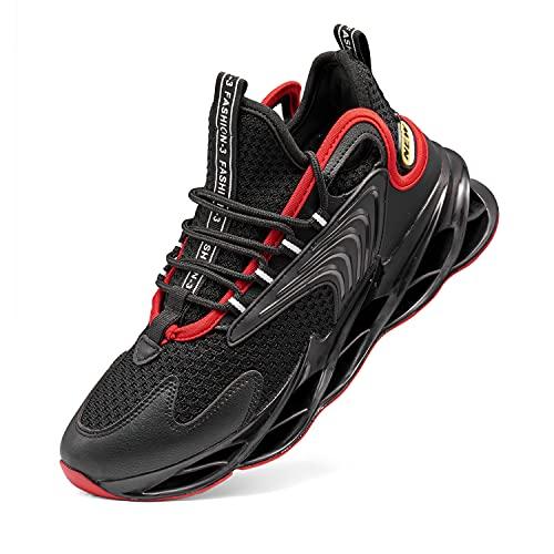 VcnKoso Zapatillas Hombre de Casual Zapatillas Air Deportivas Mujer Ligero Trekking Trail Running Zapatillas Deportes de Baloncesto Seguridad Zapatos Negro 42