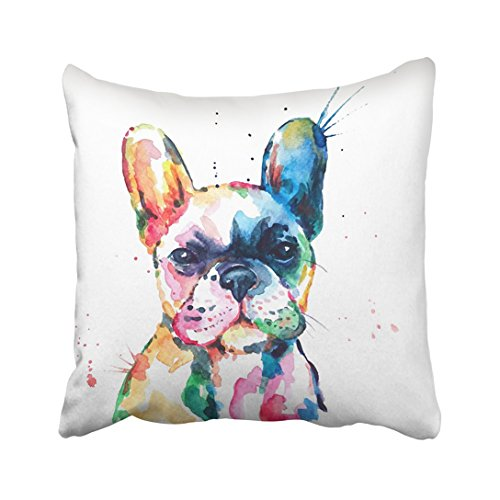 Emvency Throw Pillow Cover 20'X20' Polyester White Frenchie French Bulldog Original Watercolor Of Dog Funny Happy Puppy Rainbow Animal Decorative Pillowcase Two Sides Print For Home