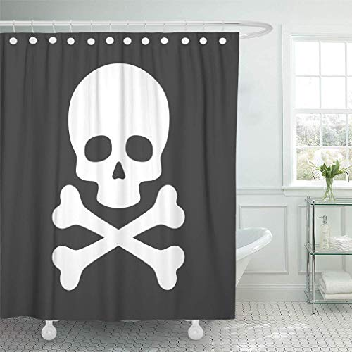 Poison Skull with Crossbones On Black Simple Pirate Danger Silhouette