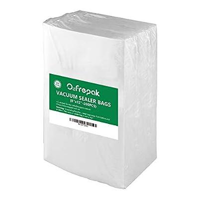 "Premium!! O2frepak 200 Quart Size 8"" x 12"" Embossed Food Saver Vacuum Sealer Freezer Bags for Seal a Meal,Food Saver,Plus other Machines.BPA Free Heavy Duty Sous Vide Vaccume Seal PreCut Bag"