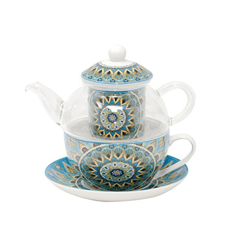 Duo thee voor één set - glazen theepot met porseleinen kop en porseleinen filter geschenkdoos theeset/theeset: theepot glas thee kopje theefilter schotel porselein