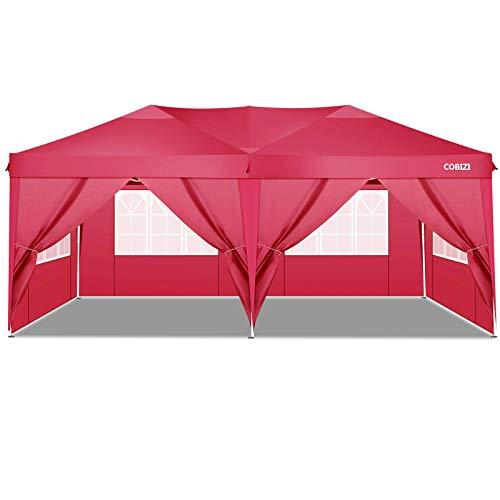 Cobizi Gazebo da Giardino 3x6 m Pieghevole Tendone Gazebo con 4 Pareti Laterali | Protezione UV 50+ | Telaio Telescopico in Acciaio | Tenda Giardino Gazebo per Feste, Campeggio, Spiaggia (Rosso)