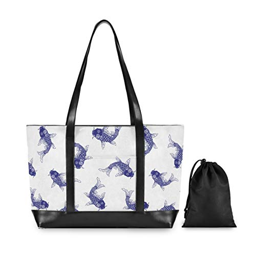 Laptop Tote Bag-Japanese Style Carp Koi Fish Women Business Handbag Computer Shoulder Work Bags Fits 15.6 Inch Notebook