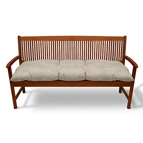 Beautissu Cojines para Bancos Flair BK 120x50x10 cm Cómodo Acolchado Banco de jardín/Columpio Hollywood Beis