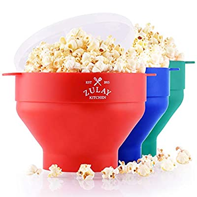 Zulay Kitchen Collapsible Silicone Popcorn Maker - BPA Free Silicone Popcorn Bowl Microwave - Collapsible Bowl, Quick & Easy Popcorn Popper (Red)
