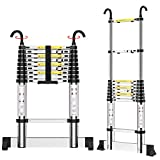 Teenza® 2.9M Telescopic Ladders, Multi-Purpose Aluminium Extensionable Ladder with Hooks and Stabilizer, DIY Portable Loft Ladders EN131 /150KG