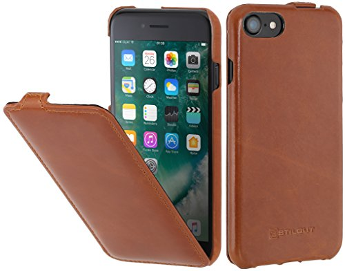 StilGut Leder-Hülle kompatibel mit iPhone SE 2020/iPhone 8/iPhone 7 vertikales Flip-Case, Cognac