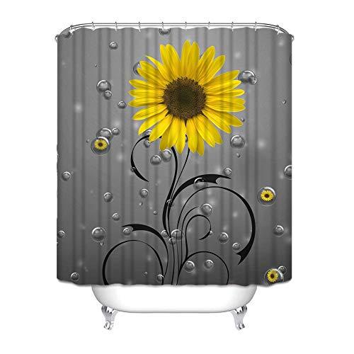 Joyloce Duschvorhang-Set mit Haken & Sonnenblumen, aus Polyester, wasserdicht, für Badezimmer, Heimdekoration (gelbe graue Sonnenblumenblasen, 168 x 183 cm)