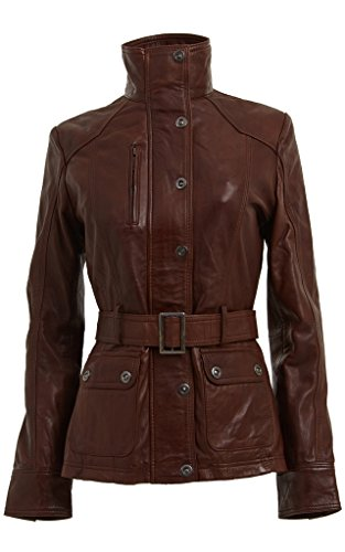Cordero del 100% Nappa cuero de las mujeres de las señoras chaqueta militar Cinturón marron Slim Fit