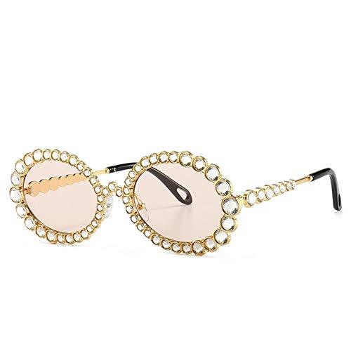 CJJCJJ Crystal Diamond Oval Sonnenbrille für Frauen Mode Candy Shades UV400 Brille Transparenter Rahmen