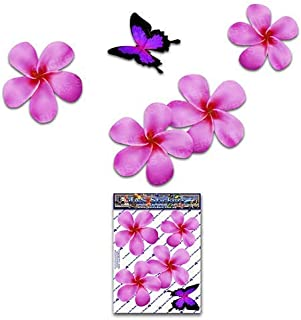 FLOWER Frangipani Plumeria Small Pink Double + BUTTERFLY Animal Pack Car Stickers - ST00024PK_SML - JAS Stickers