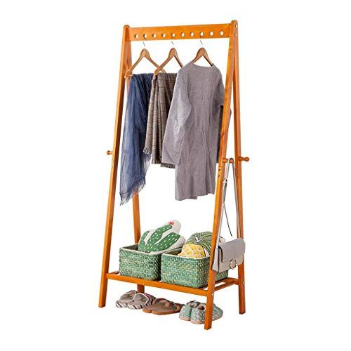 TGBYHN Kapstok, staande garderobe van hout met 4 haken, hoedenhouder, garderobelijst hal, voor handtas, kleding en accessoires