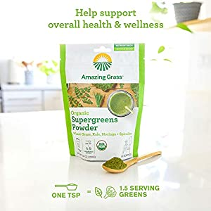 Amazing Grass Super Greens Booster: Greens Powder with Spirulina, Moringa, Wheat Grass & Kale Smoothie Booster, 30 Servings